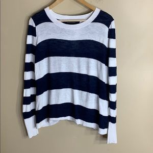 BR navy white stripe linen blend wrap back sweater